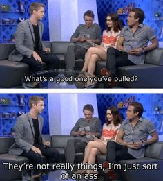 """Jamie Campbell Bower, Lily Collins, and Kevin Zegers in an interview. They were asked who was the most likely to play a prank of set. Jamie and Lily answered Kevin, and now Kevin explains why. The interviewer asks """"What's a good on you've pulled"""" to Kevin. I absolutely love Kevin's fun, honest answer, it's so funny. Kevin responds with """"They're not really things, I'm just sort of an ass."""" (Picture 2/2)"""