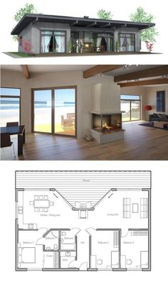 Three Bedroom Tiny House Plans Elegant Small House Plan Three Bedrooms Carport Small Home Design Tiny House Design, Modern House Design, Casas Containers, Small House Plans, Small Home Floor Plan, One Floor House Plans, Small Cottage Plans, Pool House Plans, Beach House Plans