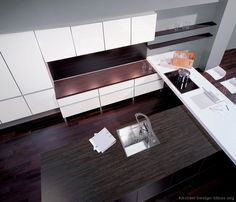 Idea of the Day: Modern white kitchens. (By ALNO, AG). White Kitchen Cabinets, Kitchen Dining, White Kitchens, Modern Kitchens, Island With Seating, Wood Countertops, Kitchen Pictures, Updated Kitchen, Modern Room