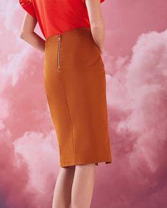 Ruffle detail cotton-blend pencil skirt