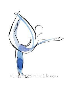 yoga art print - Dancer Pose