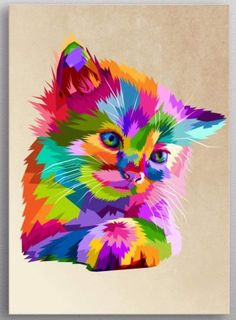 """Beautiful """"adorable colorful cute cat"""" metal poster created by peri priatna. Colorful Animal Paintings, Colorful Animals, Cute Animals, Watercolor Portrait Tutorial, Pop Art, Cute Love Pictures, Cat Posters, Hippie Art, Rainbow Art"""