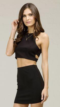 ANGL | Basic Racer Cut Crop Tank Top - Black