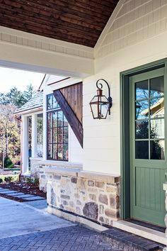 Stone Cottage-style Home Design – Home Bunch Interior Design Ideas - Home & DIY Stone Exterior Houses, Craftsman Exterior, Cottage Exterior, Exterior House Colors, Stone Houses, Exterior Design, Cottage Door, Farm Cottage, Brick Design