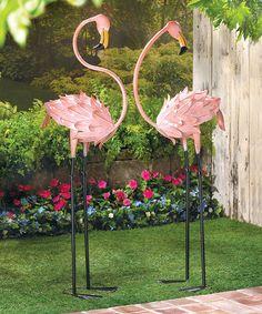 Pink Flamingo Bird Metal Garden Statue Stake Yard ArtLawn