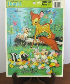 Vintage Puzzle - Frame Tray - Bambi - Walt Disney - 1980 -Golden - Retro Toy Puzzle - Made in the USA by NehiandZotz on Etsy