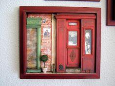 Creación artesanal de miniaturas 1:12. .- interesting facade! And lettering for sign!