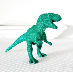 Teal Tyrannosaurus Rex Dinosaur in Blue Green Glitter for Baby Shower Table Settings, Boy Nursery Decor or Fun Nerdy Home Decorations Baby Shower Table, Baby Boy Shower, Baby Showers, Green Glitter, Teal Green, Emerald Green, Glitter Critters, Dinosaur Wedding, Dinosaur Cake Toppers