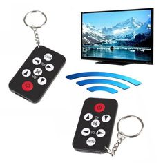 Black Mini Universal Infrared IR TV Remote Control Controller 7 Keys Button Keychain Key Ring Wireless Smart Remote Controller