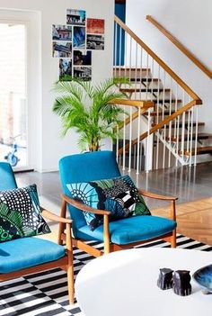 I currently have these Marimekko pillows Home Interior, Interior Decorating, Interior Design, Furniture Styles, Home Furniture, Living Area, Living Spaces, Living Room, Retro Home Decor