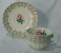 Limoges American China Le Fleur Rouge Pattern Cup Saucer Set