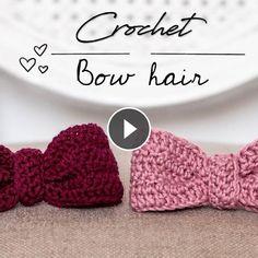Crochet Bow Hair Tutorial - Easy - For Beginners Crochet Bows, Crochet Stars, Easy Crochet, Irish Crochet, Double Crochet, Herringbone Stitch, Beanie Pattern, Knitted Headband, Bow Hair Clips