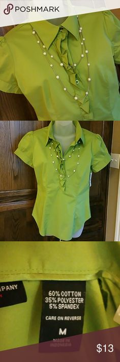 New York & Co Blouse Apple green ruffle front with short full sleeve with gathered armhole that can be adjusted. New York & Company Tops Blouses