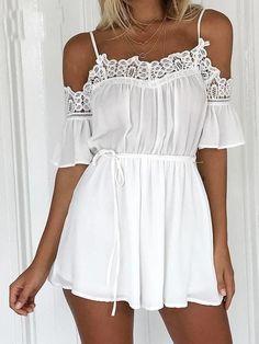 Macaquinho Branco Detalhe em Renda - Compre Online | DMS Boutique