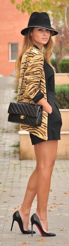 Black Playsuit with Tiger, Chanel & Louboutin Stiletto Pumps #Louboutins