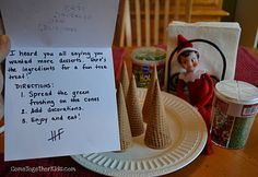 Come Together Kids: Elf on the Shelf Ideas ~ Week 2 Inc. how to make christmas tree cone desserts! How To Make Christmas Tree, Christmas Elf, Christmas And New Year, Christmas Wreaths, Christmas Porch, Christmas Stuff, Christmas Ideas, Elf Magic, Elf On The Self