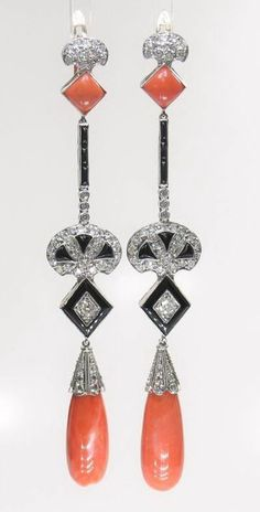 ANTIQUE ART DECO PLATINUM DIAMOND & CORAL & ONYX EARRINGS
