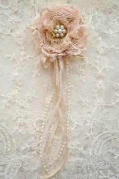 Dusty Rose Gillyflower - Handmade lace flower Jennelise Rose on Etsy