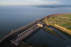 Sky view of the Itaipu Dam and Lake on the border between Brazil and Paraguay