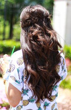 long brunette + fishtail half-up