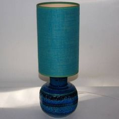 Gorgeous 1960s Blue & Green Bitossi Table Lamp, with Shade, signed