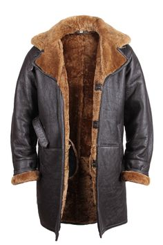 Brown MEN'S Warm Winter Real Shearling Sheepskin Leather Duffle Coat | eBay