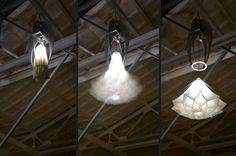 Shylights, by StudioDrift's Lonneke Gordijn and Ralph Nauta, are wirelessly operated chandeliers that emulate the diurnal opening and closing of flowers. Hands Off included original prototypes, but five new Shylights hang permanently in the Rijksmuseum's newly opened Philips Wing.