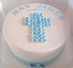 Christening Cakes on Lellow Cakes  Baptism  Blue   White