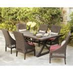 Hampton Bay Woodbury 7-Piece Patio Dining Set with Dragon Fruit Cushions-D9127-7PCR at The Home Depot