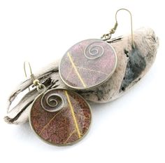 Paper & Wire Spiral Dangle Earrings - Antique Bronze Circles with Leaf Veins - Painted Paper and Resin Jewelry