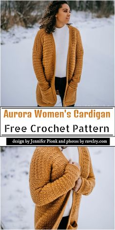 Aurora Women's Crochet Cardigan Free Pattern - Crochet Cardigan Pattern Free Women, Easy Crochet Patterns, Knitting Patterns Free, Free Crochet, Free Pattern, Skirt Patterns, Coat Patterns, Blouse Patterns, Pattern Design