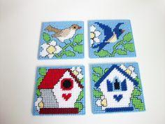 Birds and Birdhouses Beverage Coasters - Birdhouse Drink Coasters - Bird Design Mug Rugs - Backyard Birdhouses & Birds Coasters by CoastalCrochetCrafts on Etsy