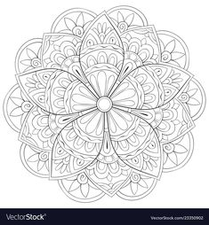 Adult coloring bookpage a zen mandala image for vector image on VectorStock Mandalas Painting, Mandalas Drawing, Mandala Art, Adult Coloring, Coloring Books, Doodle, Book Pages, 2 Colours, Adobe Illustrator
