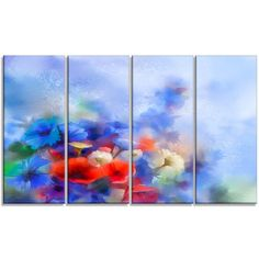 DesignArt 'Blue Corn Flowers and Red Poppies' 4 Piece Painting Print on Wrapped Canvas Set
