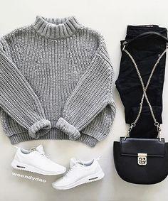 gray crop sweater black mom pants