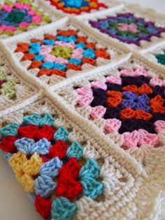 Multicolor granny square crochet blanket with cream by mostlyjonah, $85.00