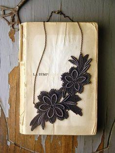 An asymmetrical lace necklace...