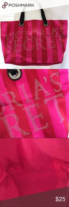 "Rhinestone Victoria's Secret Tote Hot pink and red tote with rhinestone VS logo. The bag is 20"" wide, 13"" tall and, 5"" deep. Never used. Victoria's Secret Bags Totes"