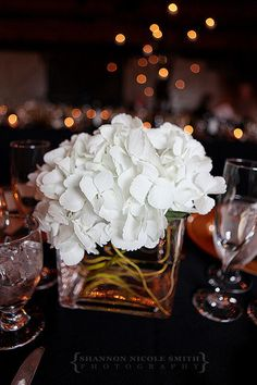 Hydrangea and willow centerpiece (flowers by Lee Forrest Design, photo by Shannon Nicole Smith)