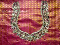 For orders contact Sri Aari Creatives - 9842995293 Silk Saree Blouse Designs, Silk Sarees, Aari Work Blouse, Orange Blouse, Indian Designer Wear, Bridal Collection, Embroidery Designs, Creative, Stitching