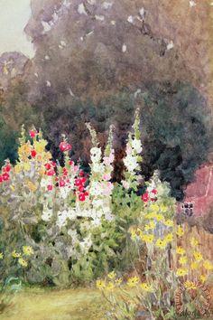 Hollyhocks painting - Helen Allingham Hollyhocks Art Print