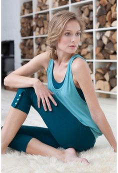 a8361c43ab260c BAMBOO LAYERED BRA TOP AND SEAWEED CAPRI PANTS. Yoga and Pilates clothes.  Asquith UK