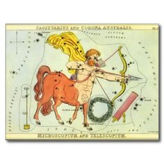 Vintage Astrology Sagittarius Constellation Zodiac Post Card