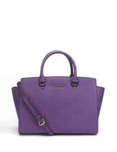 MICHAEL MICHAEL KORS Large Selma Top-Zip Satchel Bag In Violet