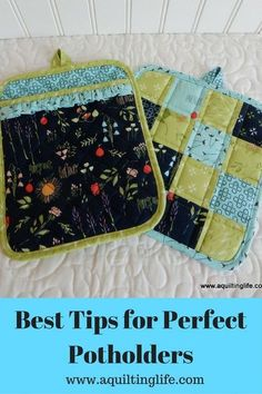 Best Tips for Perfect Potholders (A Quilting Life) Hello! Today's post is all about potholders! Potholders are one of my favorite things to make with fabric scraps, and they are also one of my favorite things to give for housewarmings and holiday pre Sewing Blogs, Diy Sewing Projects, Sewing Projects For Beginners, Quilting Projects, Sewing Hacks, Sewing Tutorials, Sewing Crafts, Sewing Tips, Quilting Tips