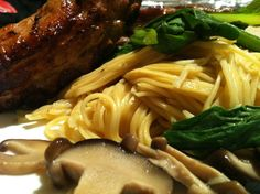 Asian noodles with Pork Belly Ribs -  marinate Pork with grated Lemon, Red wine vinegar and salt overnight, use egg noodles and Chinese cabbage sliced Chinese mushrooms and broth served in separate bowl - simply delicious on a cold evening - food glorious Food