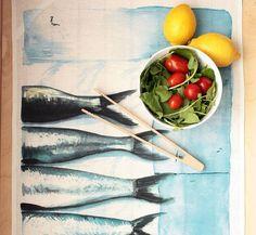 Linen Tea Towel : Fish tea towel, kitchen decor, kitchen towel, table linen, watercolor painting, table decor, blue kitchen decor. Sea print