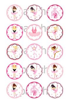 Little Ballet Dancer 1 inch Circles Round by Cherryclipart on Etsy