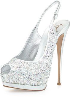 Giuseppe Zanotti Crystal Slingback Platform Sandal, Silver