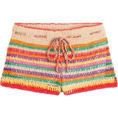Anna Kosturova Crochet Shorts (260 BAM) ❤ liked on Polyvore featuring shorts, multicolor, crochet shorts, colorful shorts, multi colored shorts, summer shorts and anna kosturova